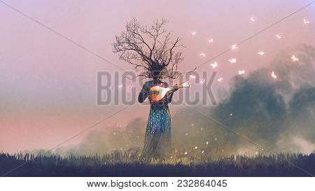 Creature With Branch Head Playing Magic Banjo String Instrument With Glowing Butterflies, Digital Ar