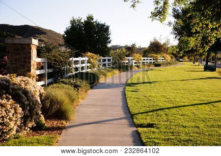 Pedestrian Walkway For Exercise And Walk In Valencia California