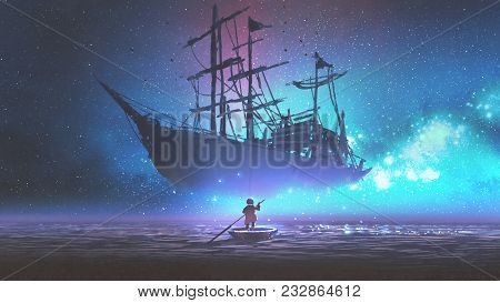 Little Boy Rowing A Boat In The Sea And Looking At The Sailing Ship Floating In Starry Sky, Digitl A