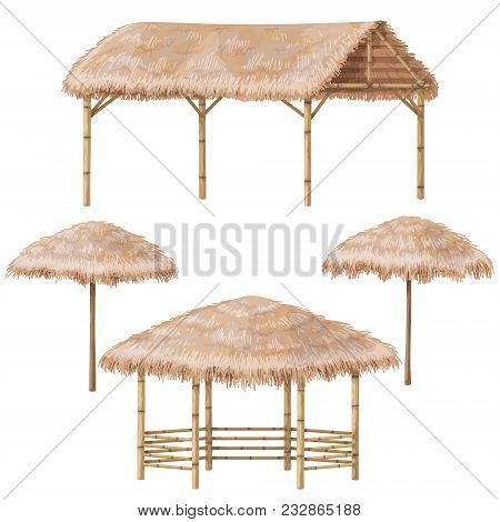Set Of Tropical Beach Shelter Buildings With Palm Thatch Roof. Bamboo Gazebo, Canopy And Parasol  Is