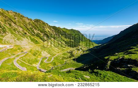 Transfagarasan Road In Mountains Of Romania. Gorgeous View Of The Landscape From The Edge Of A Hill.