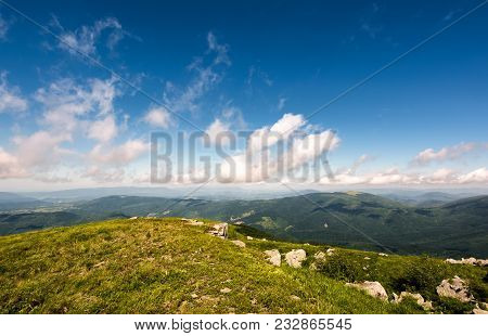 Beautiful Mountainous Landscape In Summer. Lovely Nature Scenery Observed From The Top Of A Hill Wit