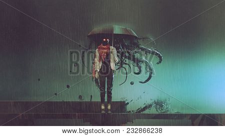Horror Concept Of Mystery Woman Holding The Umbrella With Black Tentacles Inside In The Rainy Night,