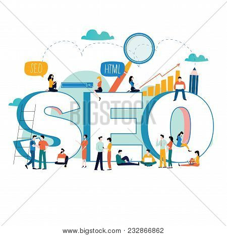 SEO, search engine optimization, keyword research, market research flat vector illustration. SEO word with group of people. Web site coding, internet search optimization for mobile and web graphics poster