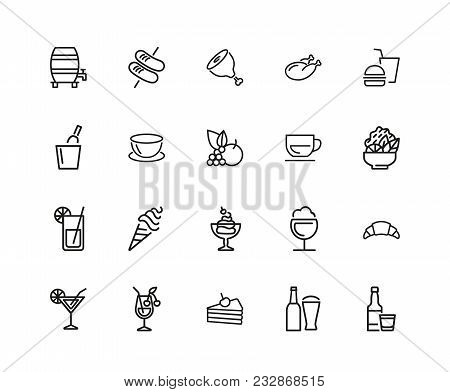 Food And Drink Icons. Set Of Twenty Line Icons. Fruit, Meat, Juice. Meal Concept. Vector Illustratio