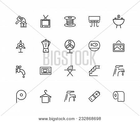 Home Icons. Set Of Twenty Line Icons. Electric Fan, Ironing, Battery. Domestic Life Concept. Vector