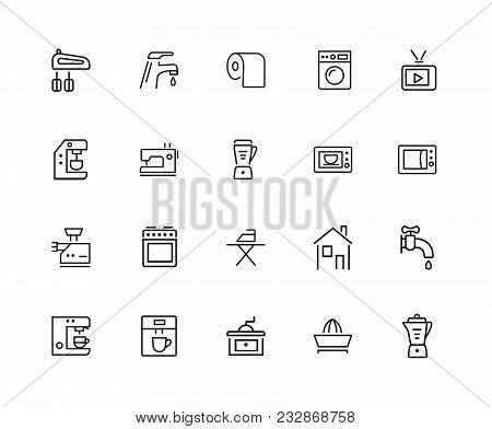 Household Icons. Set Of Twenty Line Icons. Washing Machine, Tv Set, Sewing Machine. Domestic Applian