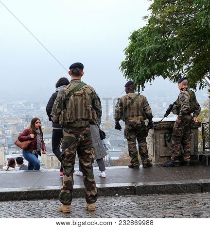 Paris, France - September 2017: French Army Soldiers Patrolling In Paris In Connection With The Terr