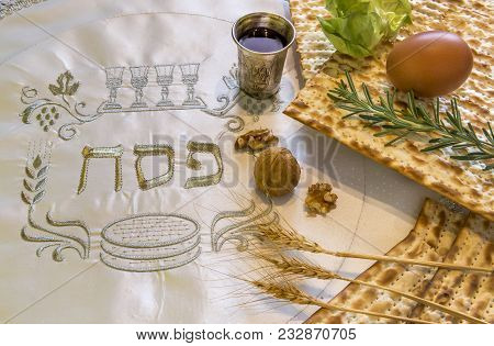 Close Up Of Traditional Kosher Meal Symbolizing Major Hebrew Holiday Event Designated For Jewish Pas