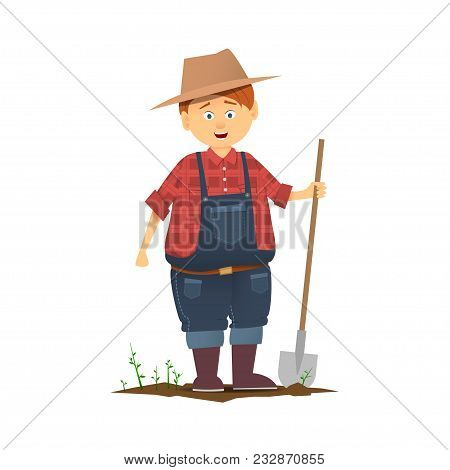 Flat Colorful Character Or Icon On White Background. Funny Cartoon Farmer Character. Cartoon Style,