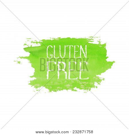 Gluten Free Food Concept Logo Design Template. Green Watercolor Hand Drawn Label Emblem. Lettering G