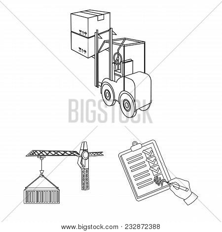 Logistics And Delivery Outline Icons In Set Collection For Design. Transport And Equipment Isometric