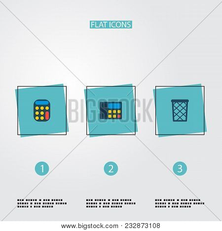 Set Of Workspace Icons Flat Style Symbols With Wastebasket, Calculator, Telephone And Other Icons Fo