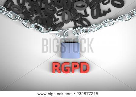 RGPD, Spanish and Italian version version of GDPR: Regolamento generale sulla protezione dei dati. Concept 3d rendering with copyspace. General Data Protection Regulation.