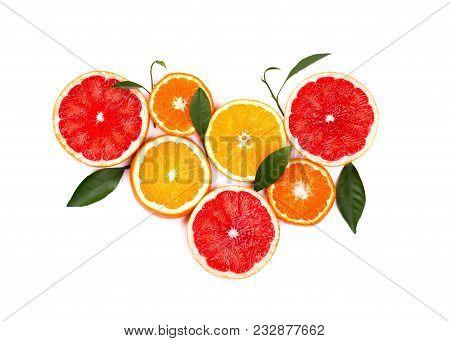 Citrus Fruits Isolated On White Background. Isolated Citrus Fruits. Pieces Of Lemon, Pink Grapefruit