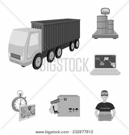 Logistics And Delivery Monochrome Icons In Set Collection For Design. Transport And Equipment Isomet
