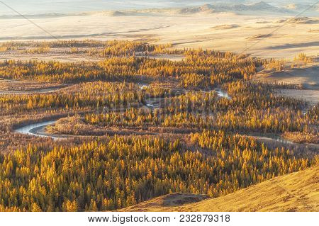 Beautiful  Mountain Landscape Of Altai ,with Chuya River Valley, Altai Mountain Republic, Russia.