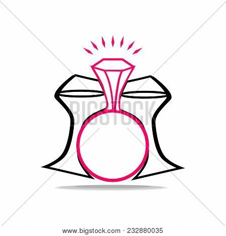 Two Glasses Clink Glasses In Honor Of The Engagement. Logo For The Bride. Wedding Champagne.