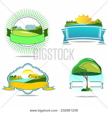 A Set Of Logos On The Theme Of An Ecological Valley With A Village And A River. Fashionable Nature I