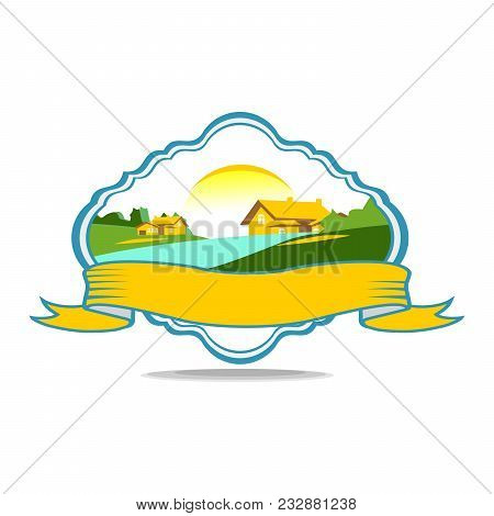 Logo. A Cozy Village In A Beautiful Quiet Valley Where There Is A River. Illustration In An Ecologic