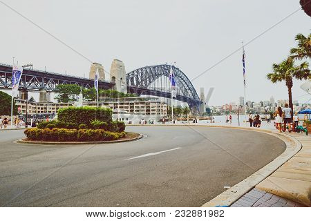 Sydney, Australia - December 16th, 2013: View Of Sydney Harbour Bridge From The Rocks