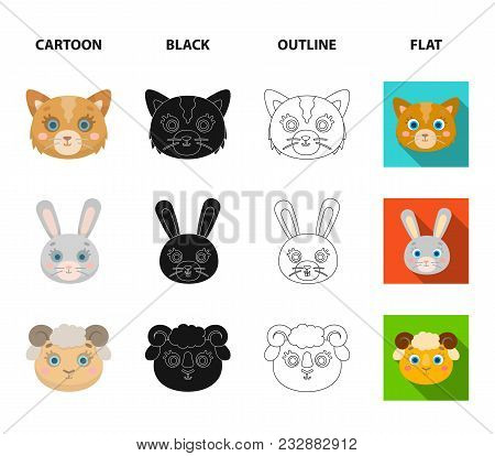 Cat, Rabbit, Fox, Sheep. Animal Muzzle Set Collection Icons In Cartoon, Black, Outline, Flat Style V