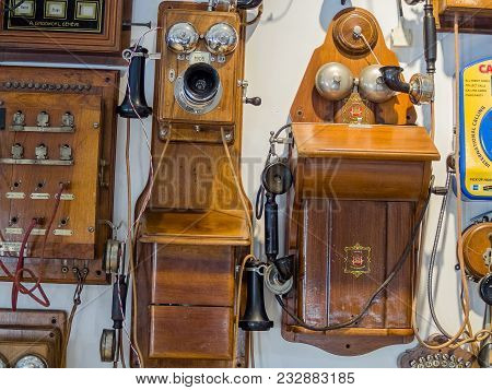 Moscow, Russia - March 20, 2018: Collection Of Old Obsolete Telephones Exhibits In The Museum Of The