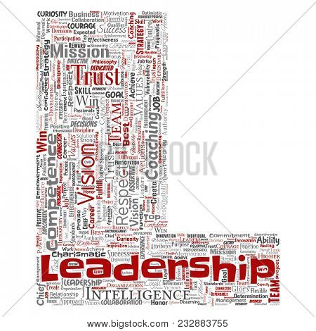 Conceptual business leadership strategy, management value letter font L word cloud isolated background. Collage of success, achievement, responsibility, intelligence authority or competence poster