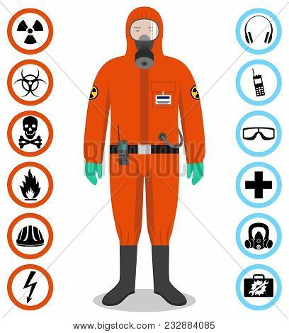 Man In Orange Protective Suit In Flat Style. Dangerous Profession. Occupational Safety And Health Ve