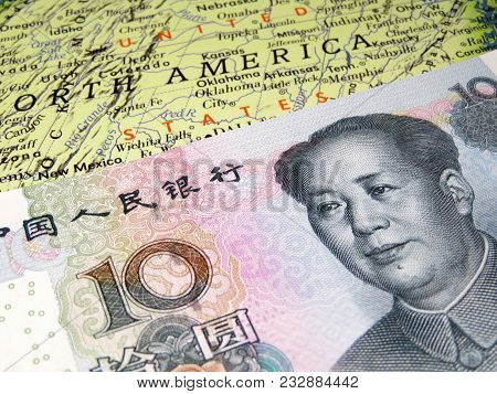 Yuan On The U.s. Map. Trade War Between China And United States