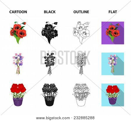 A Bouquet Of Fresh Flowers Cartoon, Black, Outline, Flat Icons In Set Collection For Design. Various
