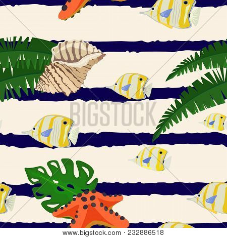 Vector Colorful Pattern With Leaves Of Palm Tree And Shell, Bright Starfish And Flock Of Fish On Lig
