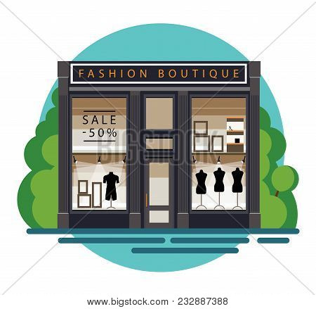 Boutique. Boutique Facade. Fashion Boutique. Illustration Of A Fashion Boutique In A Flat Style. Bea