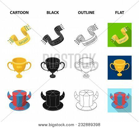 A Scarf, A Hat With Horns And Other Attributes Of The Fans.fans Set Collection Icons In Cartoon, Bla