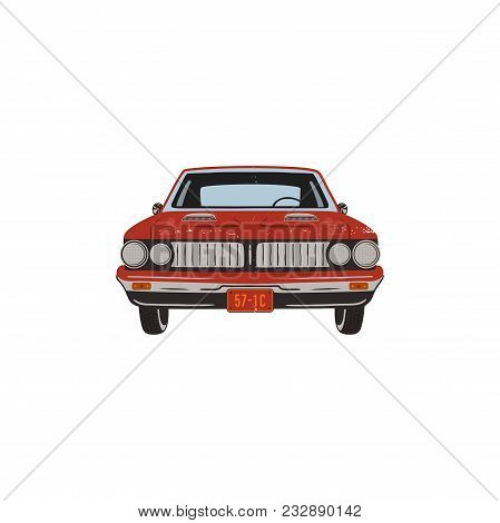 Vintage Hand Drawn Muscle Car. Retro Red Car Symbol Design. Classic Car Emblem Isolated On White Bac