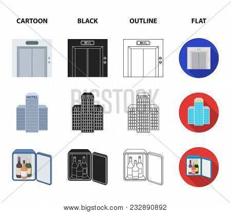 Elevator Car, Mini Bar, Staff, Building.hotel Set Collection Icons In Cartoon, Black, Outline, Flat