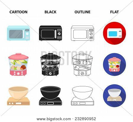 Steamer, Microwave Oven, Scales, Lcd Tv.household Set Collection Icons In Cartoon, Black, Outline, F