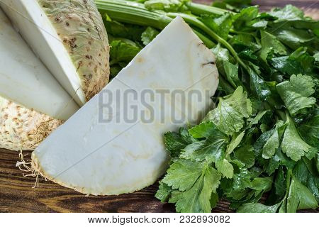Fresh Raw Celeriac Head And Celery Green Crisp Petiole, Ingredient For Many Healthy Dishes