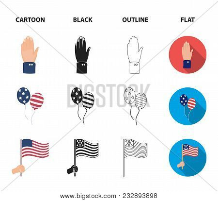 Balloons, National Flag, Cowboy Hat, Palm Hand.patriot Day Set Collection Icons In Cartoon, Black, O