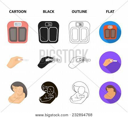 Child In The Womb, Scales, Test. Pregnancy Set Collection Icons In Cartoon, Black, Outline, Flat Sty