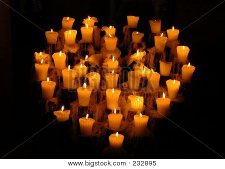 Heart Shaped Candelabra In Mexico With Lighted Candles