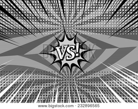 Comic Versus Monochrome Background With Two Opposite Sides, White Inscription, Halftone, Rays And Ra