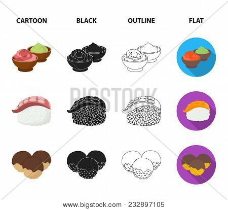 Wasabi Sauce And Ginger, Salmon Steak, Octopus. Sushi Set Collection Icons In Cartoon, Black, Outlin