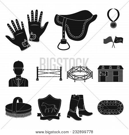 Hippodrome And Horse Black Icons In Set Collection For Design. Horse Racing And Equipment Vector Sym