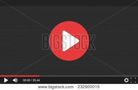 Video Player For Web Site. Interface Template For Web And Mobile Apps. Flat Design, Vector Illustrat