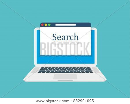 Computer Laptop, Browser Window And Ranking Sites In Search Results Of Web Search Engine. Search Eng
