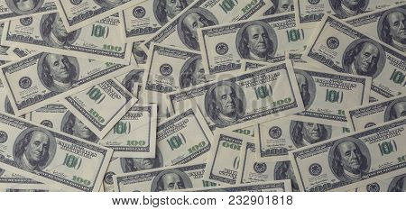 Dollars Background, Heap Of Hundred Usa Dollar Banknote Bills, Many American Cash Money With Benjami