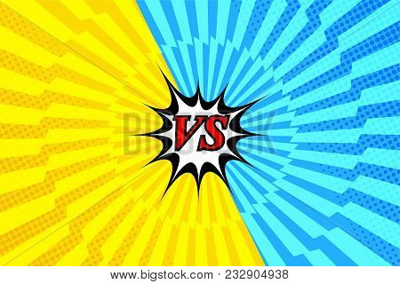 Comic Versus Light Template With Two Opposite Yellow And Blue Sides, Halftone And Lightning Radial E