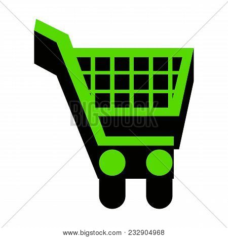 Shopping Cart Sign. Vector. Green 3d Icon With Black Side On White Background. Isolated.