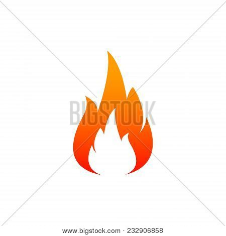 Fire Flame Icon. Oil, Gas And Energy Concept And Hot Food. Flat Design, Vector Illustration On Backg